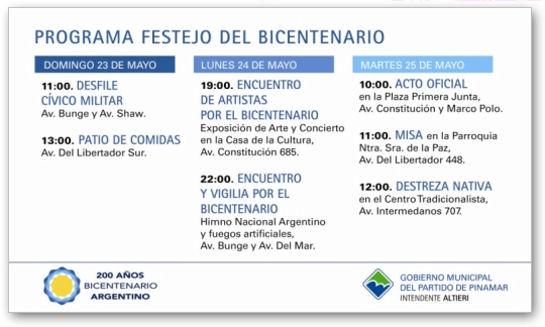 festejos de bicentenario en Pinamar